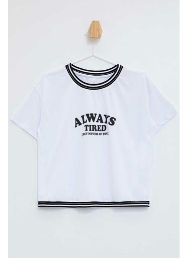 DeFacto Baskılı Regular Fit Kısa Kollu T-Shirt Beyaz
